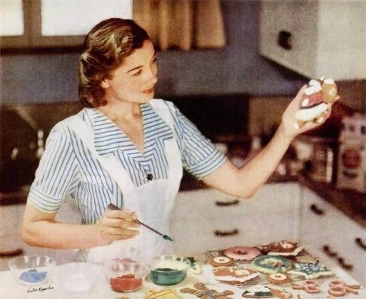 1948 General Mills Christmas Ad Housewife Baking Cookies.jpg