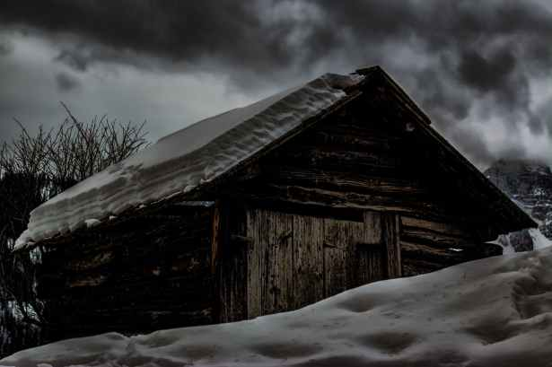 cabin covered by snow