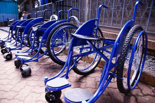 blue wheel chairs