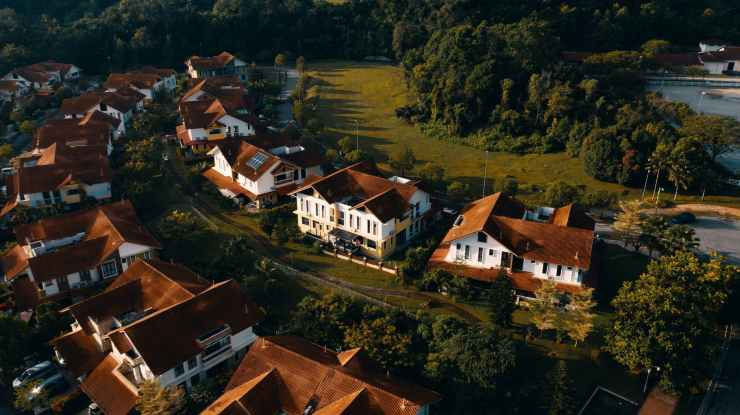 aerial view of village