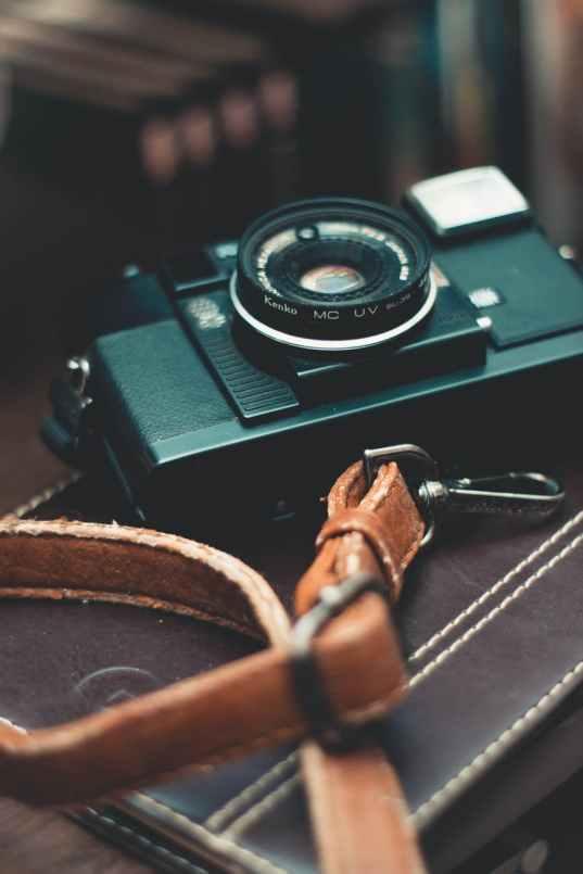 a black analog camera