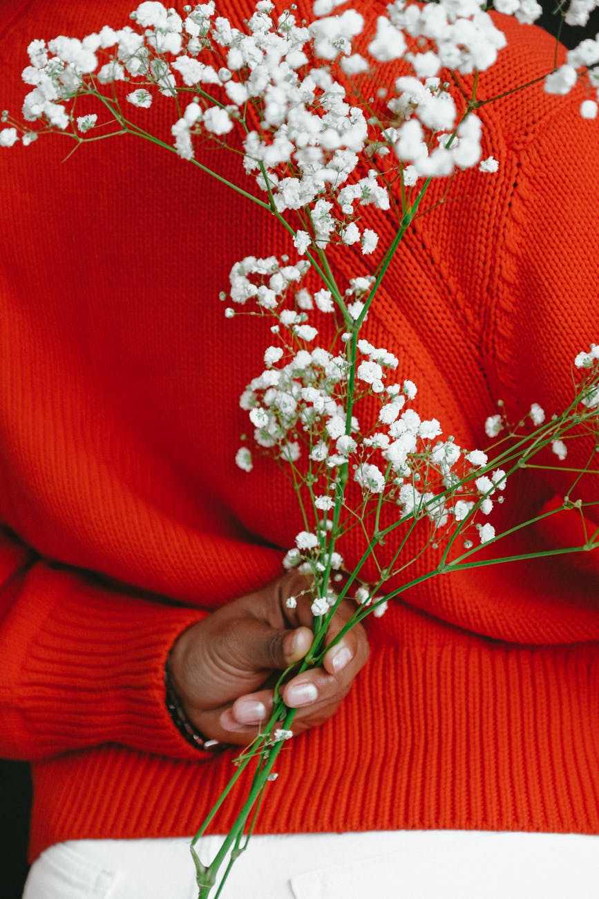 crop black female in bright sweater holding blooming branch
